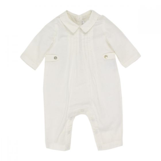 BÉBÉ by MINIHAHA - Long Sleeve Ivory Woven Romper with Tucks