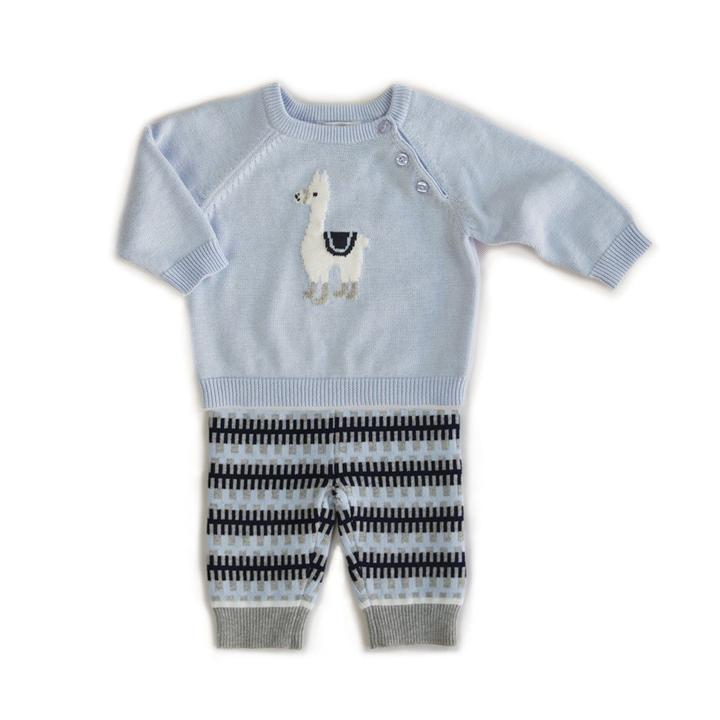 BEANSTORK - Lonnie Llama 2 Piece Set Soft Blue