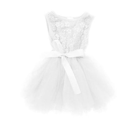 Britt Sparkle Flower Tutu  Dress - Icing White