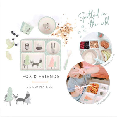 LOVE MAE Bamboo 5pc Divided Plate Set - Fox and Friends