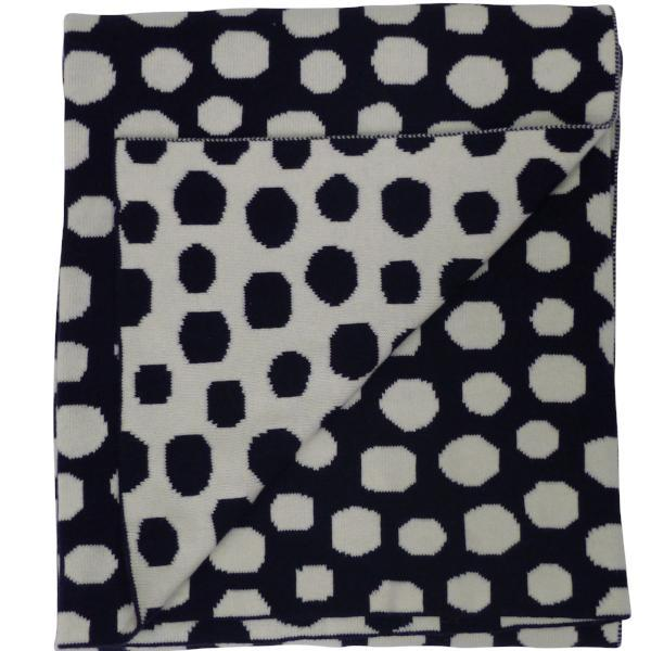 EMOTION & KIDS Spot Bassinet Blanket - Navy & Cream