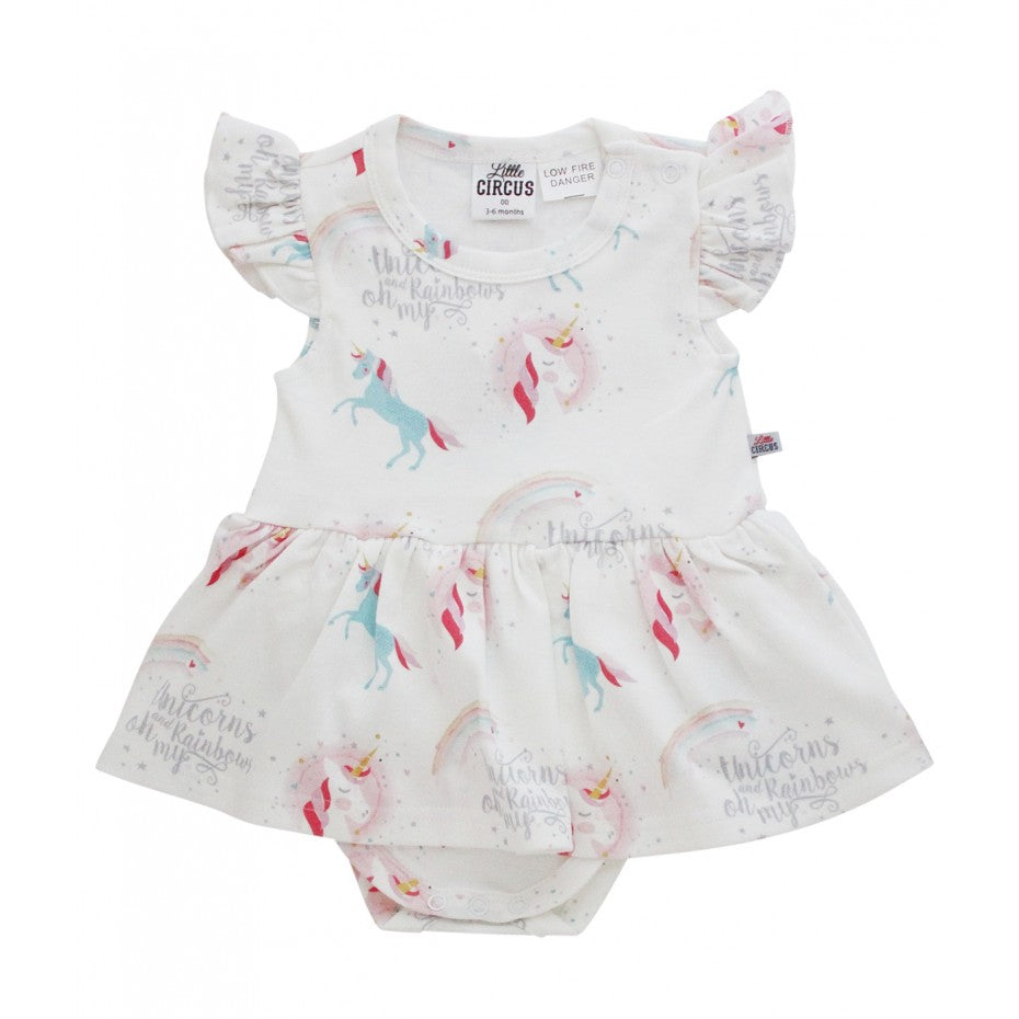 LITTLE CIRCUS Rainbows & Unicorns Snap Dress