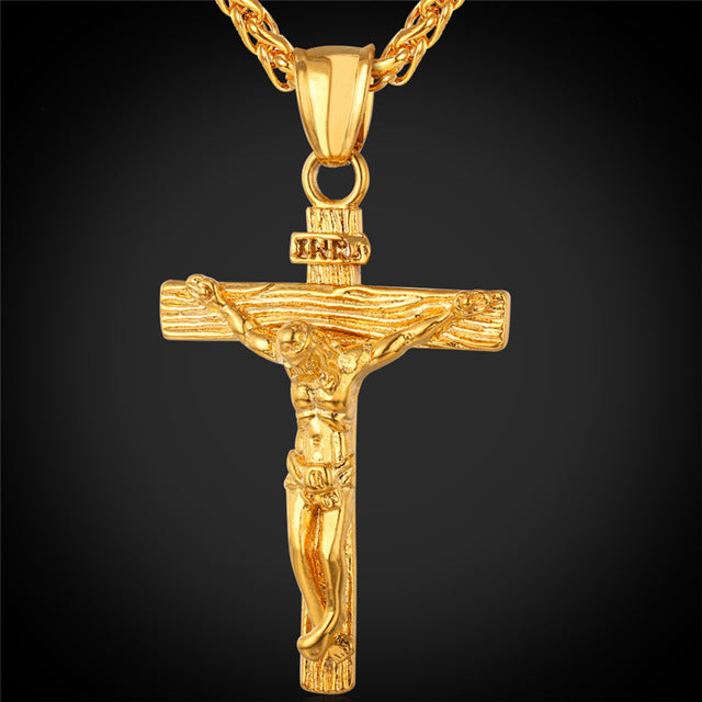 jesus crosses crucifix pendant necklace stainless steel yellow gold