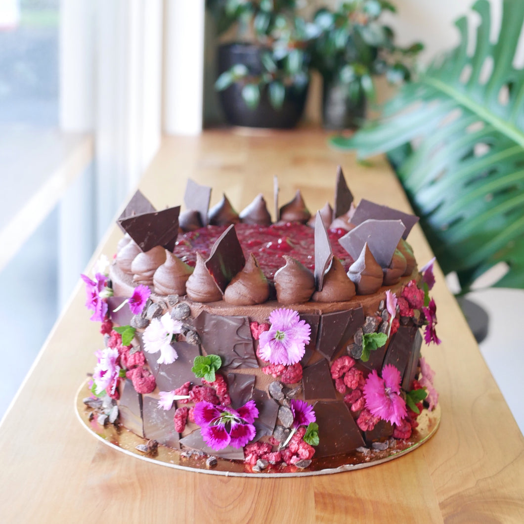 Dark Chocolate and Raspberry Mosaic Cake