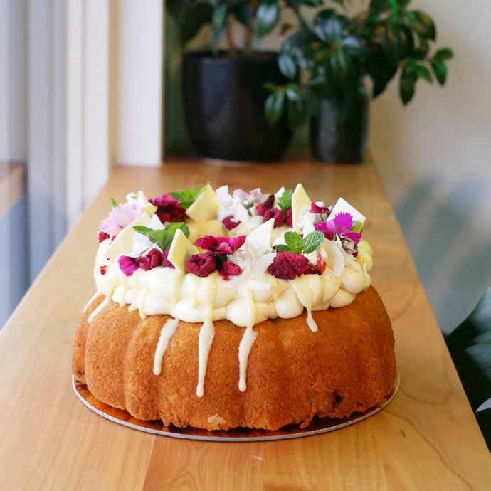 Raspberry, White Chocolate and Coconut Bundt