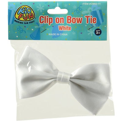 clip on bowtie white cs cm62 11  - Carnival Supplies