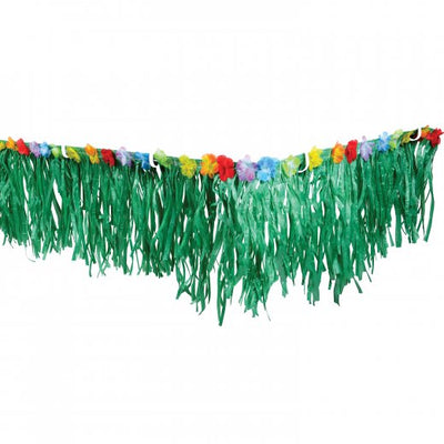 Luau Party Fringe Decoration With Flowers -Green - Party Themes