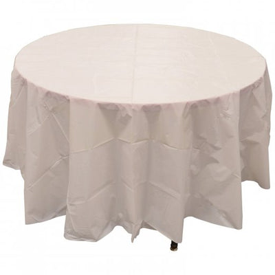 Round Plastic Table Cover - White - Party Supplies