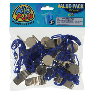 metal whistles w lanyards  - Carnival Supplies