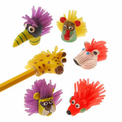 School Stuff - Wild Animal Pencil Toppers (One Dozen)