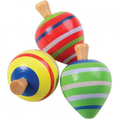 Painted Wood Spin Tops (Pack of 6) by US Toy