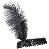 Ostrich Feather Head Band Black - Costumes and Accessories