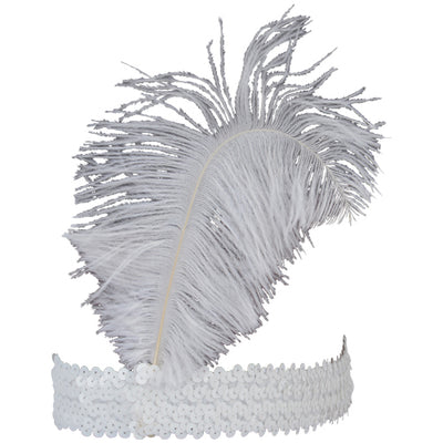 Ostrich Feather Head Band White - Costumes and Accessories