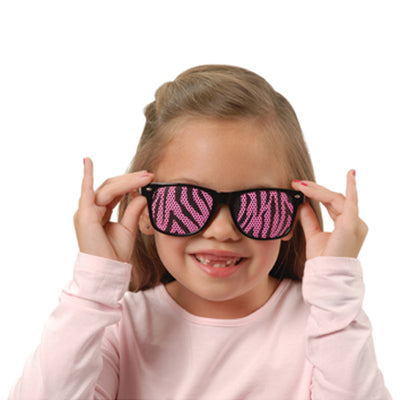 neon zebra print lens glasses   Novelties and Toys