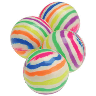 Rainbow Striped Bounce Balls - 35mm (1 Dozen) - Toys