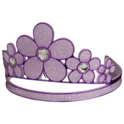 Purple Glitter Flower Tiara - Costumes and Accessories