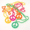 Retro Beads with Peace Sign Pendant Necklaces (1 dozen) - Party Themes