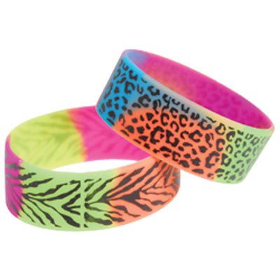 Rainbow Animal Print Bracelets (1 Dozen) - Costumes and Accessories