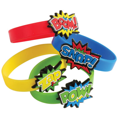 Superhero Rubber Bracelets (1 dozen) - Party Themes