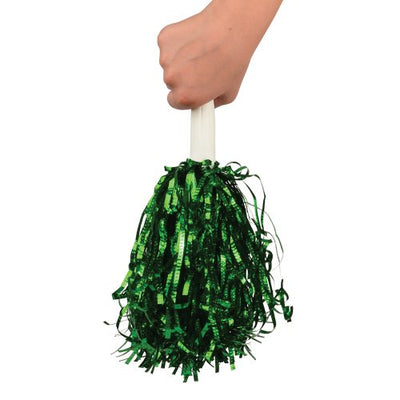Metallic Pom Poms, Green (one dozen) - Sports