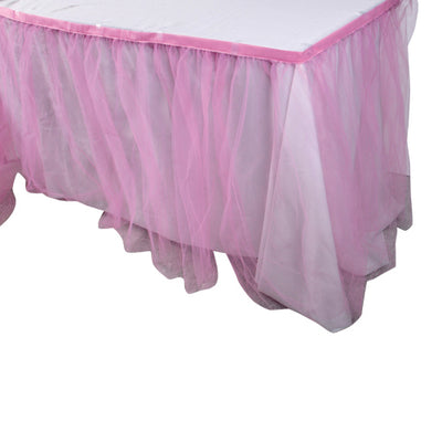 Pink Tulle Table Skirt - Party Supplies