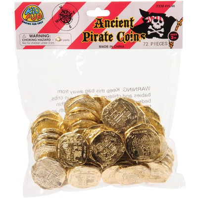 ancient pirate coins 72 pieces  - Carnival Supplies