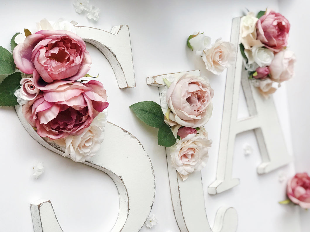 Distressed floral wood letters by RosyRilli