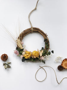 Dried yellow floral farmhouse wreath by RosyRilli