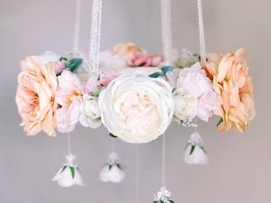 Peach and pink baby or wedding flower mobile by RosyRilli