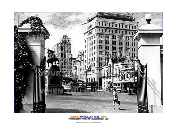 King william street adelaide seen from government house gates 1950