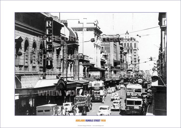 Adelaide rundle street 1950 poster print picture