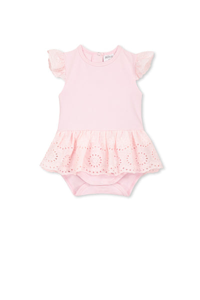 Milky Broderie Bubbysuit Pastel Pink