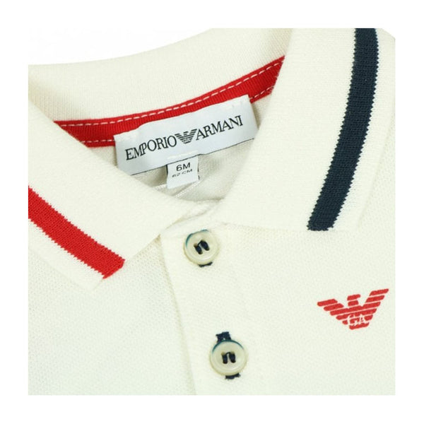 Emporio Armani Baby Boys Polo Ivory /Red/Navy 6ZHF01