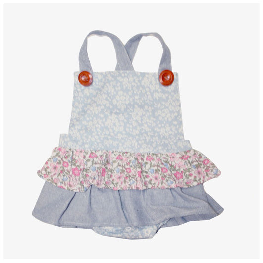 Love Henry Baby Girls Frilly Playsuit Blue Florals