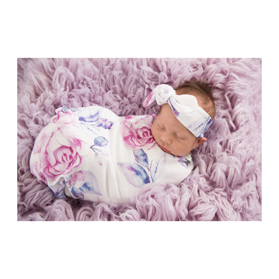 Snuggle Hunny - Lilac Skies Baby Jersey Wrap & Topknot Set