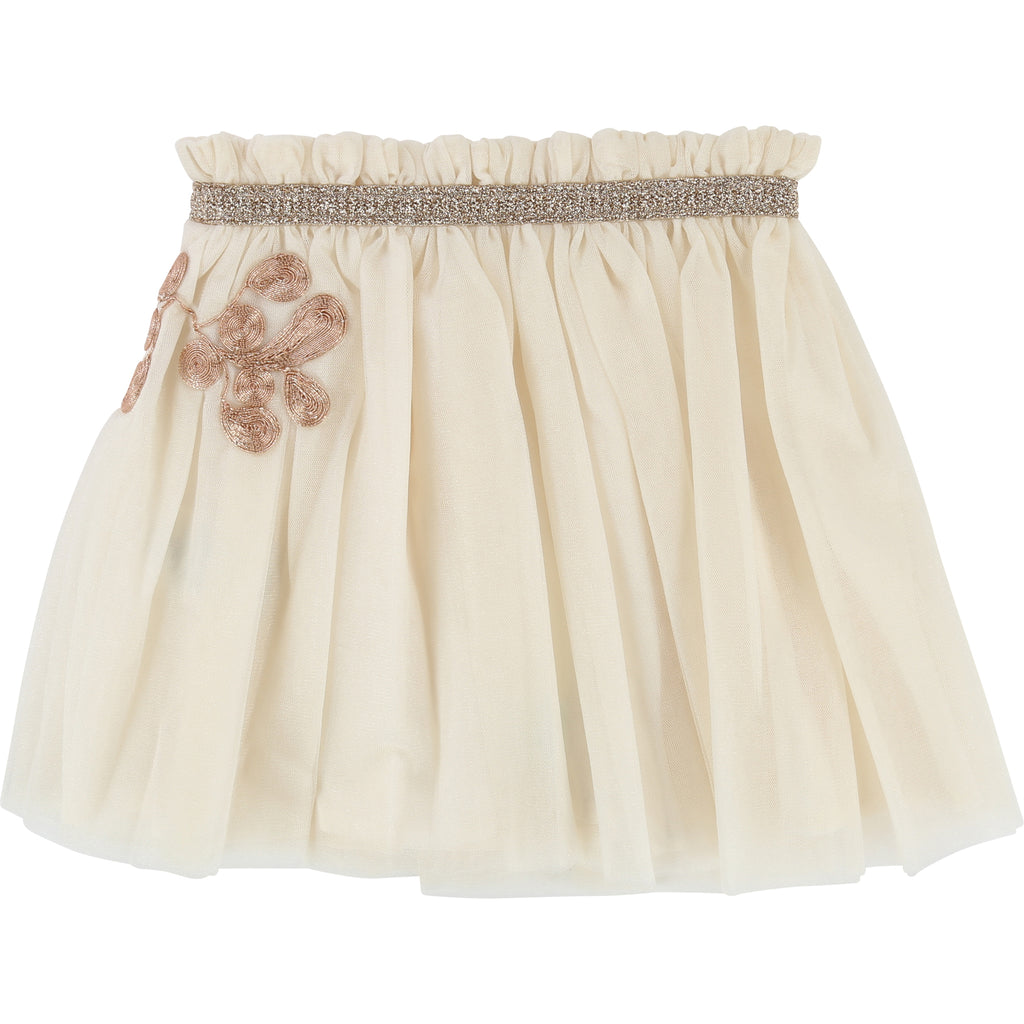 Carrement Beau Gold Shimmer Skirt Tulle ceremony skirt, viscose lined, elasticated waist with fancy trim, metal thread embellishment embroidery. Y13048