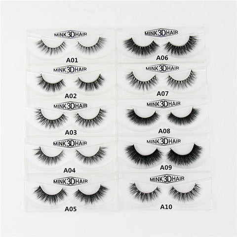 Handmade 3D Mink Natural Long Cross Thick Eyelashes - Blossomlipsmakeup