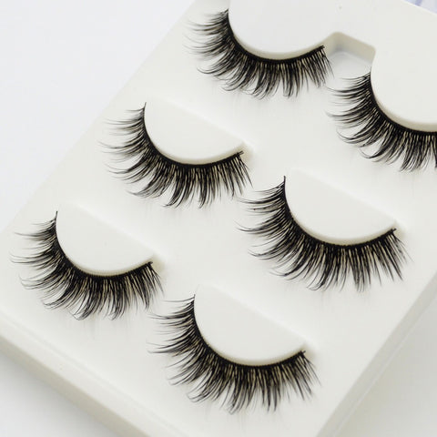 3 pairs Hand-Made Human Hair Cross Thick Natural Eyelashes - Blossomlipsmakeup