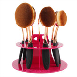 Oval Cosmetic Brush Set with Stand - Blossomlipsmakeup