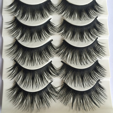 5 Pairs Thick Long Natural Handmade Eyelashes - Blossomlipsmakeup