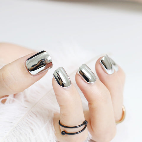 Silver metal plate short fake nails nail - Blossomlipsmakeup