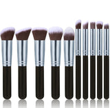 Comfy Handle Soft Cosmetic Make Up Brush Set - 10 Pieces - Blossomlipsmakeup
