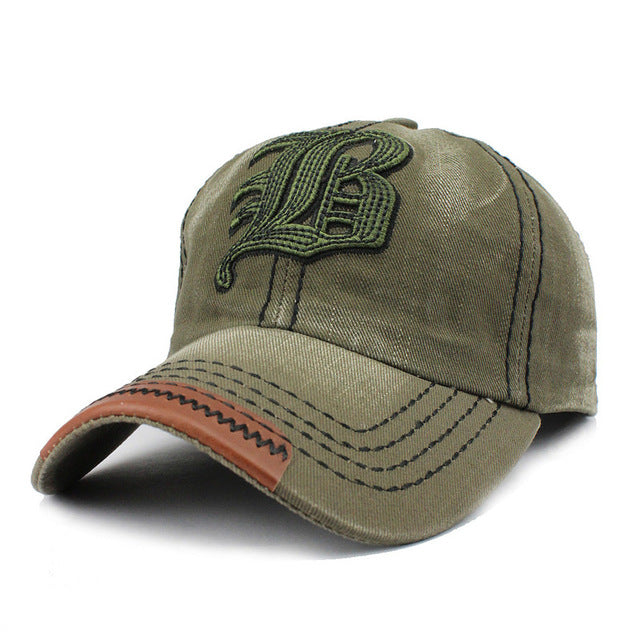 "Gorra™ – Cotton Embroidery Letter ""W"" (or ""LB"") Baseball Cap"