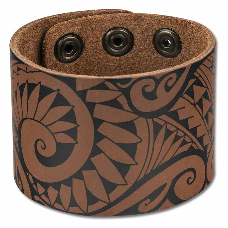 NĀ KOA KA27 Large Hawaiian tattoo cuff - Design: Ola by Marlo Lualemana