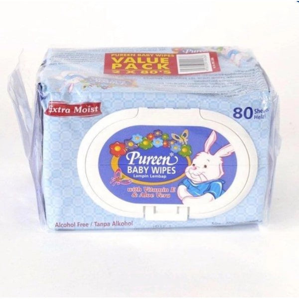 Pureen Baby Wipes Blue 2x80 Twin Pack