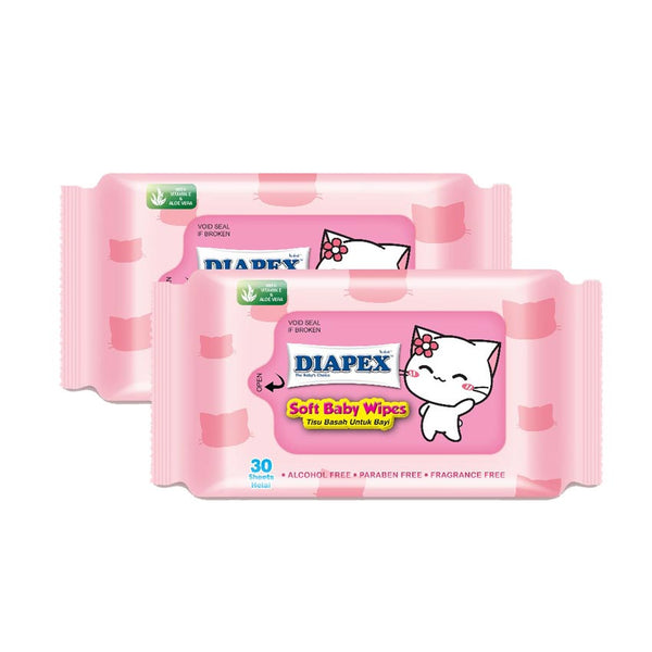 Diapex Soft Baby Wipes 30 Sheets Loose