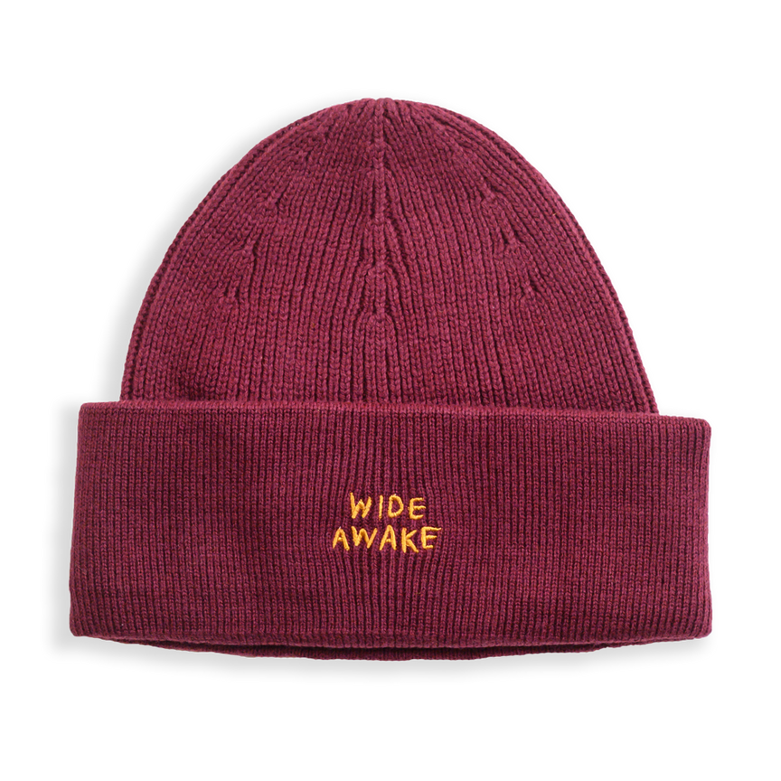 MAROON WIDE AWAKE EMBROIDERED BEANIE