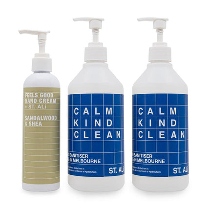 ST. ALi HAND CREAM AND SANITISER TRIPLE PACK