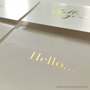 Hello Greeting Card in Gold Foil Set
