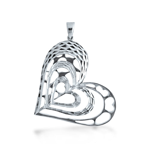 Blooming Heart Pendant in 18k White Gold